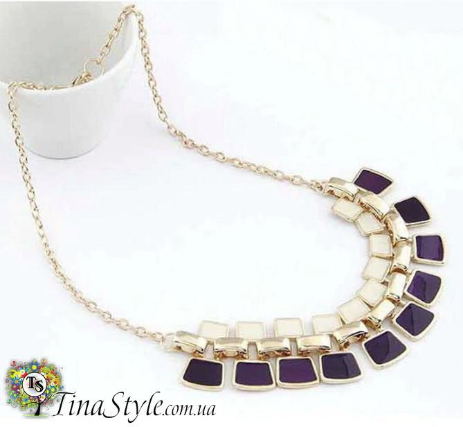 Кольэ ожерелье фиолетовое Эмаль квадратное квадраты богемное фиолетовый цвет кристаллы Шикарное колье