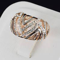 Божественное кольцо с кристаллами Swarovski, покрытие золото 0538