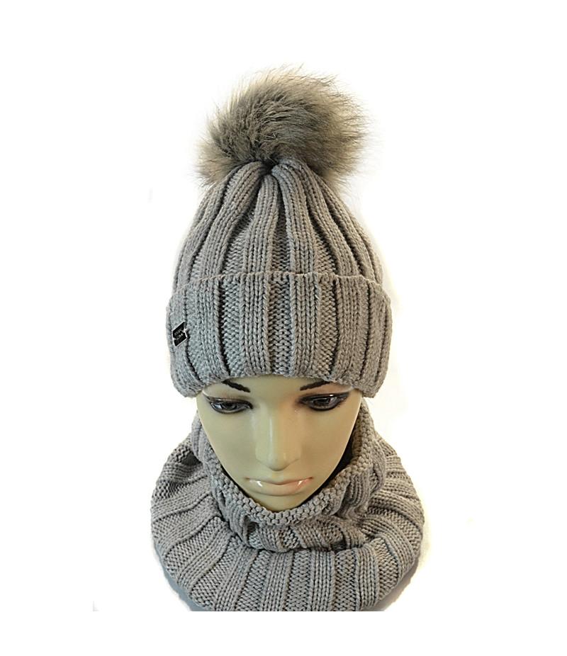 шапка для девочки с шарфиком бафф