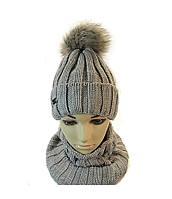 шапка для девочки с шарфиком бафф, фото 1
