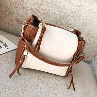 Маленька жіноча сумочка коричнева через плече з замочками опт, фото 1