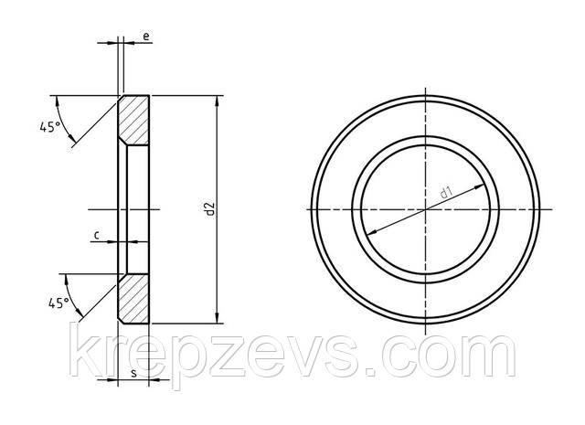 Шайба ISO 7416  чертеж Зевс