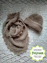 Новинка Набір в язана шапка та хустина тепла з козиного пуху колір капучіно b01f499b81bd3