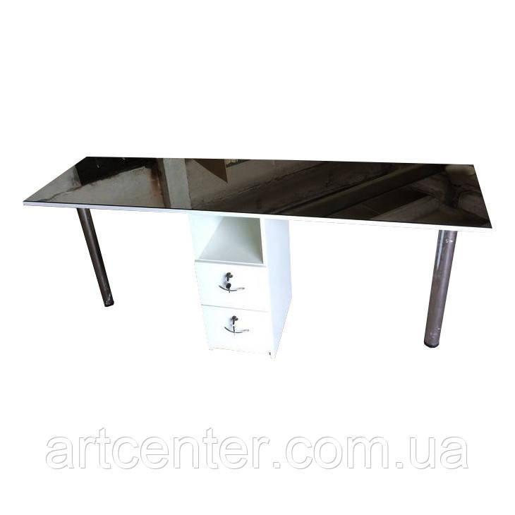 Стол для маникюра на два рабочих места, маникюрный стол для двух мастеров