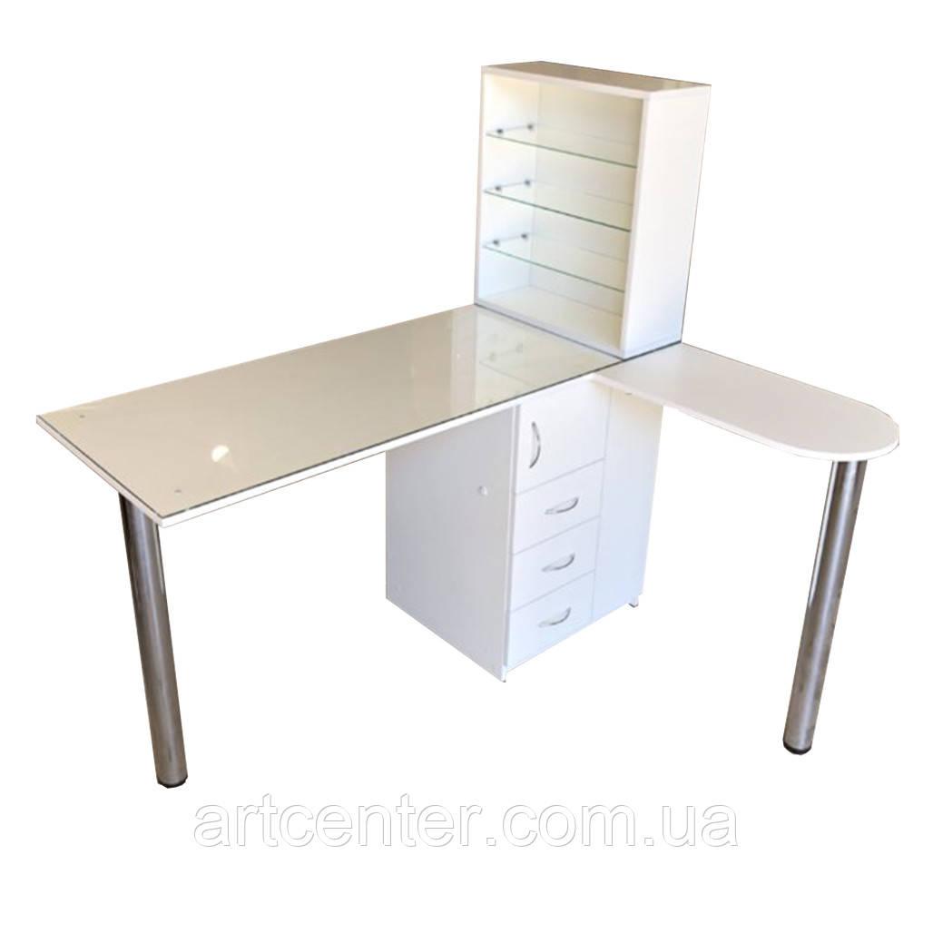 Стол для маникюра с УФ лампой, стол маникюрный угловой с полочкой для лаков