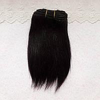 Коза натуральная остевая, трессы для кукольных волос, длина 16-18 см - черные, около метра