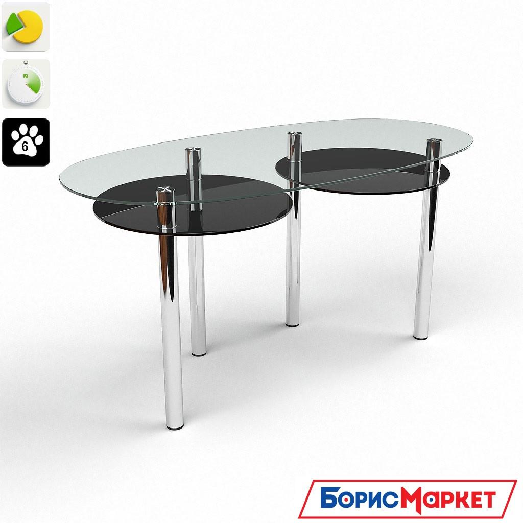 Обеденный стол стеклянный фигурный Лукас от БЦ-Стол