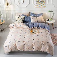 Бежевый хлопковый комплект постельного белья (двуспальный-евро)
