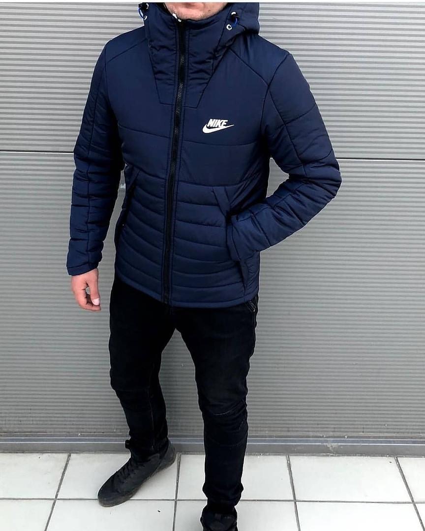 776ad3b6 Мужская Зимняя Куртка Nike Темно-синяя Качественная Турецкая Куртки Мужские  Фирменные