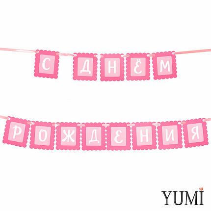 Декор: Гирлянда ажурная розовая С ДНЕМ РОЖДЕНИЯ, фото 2