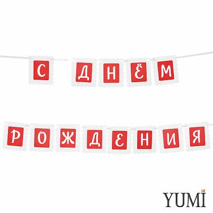 Декор: Гирлянда ажурная красно-белая С ДНЕМ РОЖДЕНИЯ, фото 2