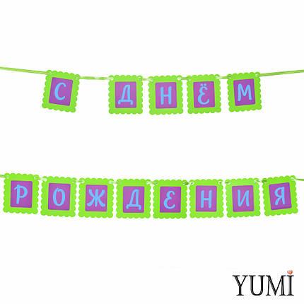 Декор: Гирлянда ажурная зелено-сиреневая С ДНЕМ РОЖДЕНИЯ, фото 2
