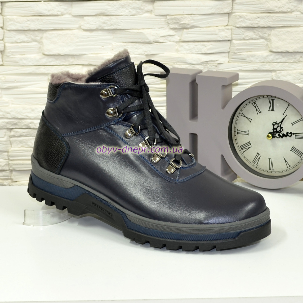 e37e16b727da Ботинки мужские на шнуровке, натуральная синяя кожа   продажа, цена ...