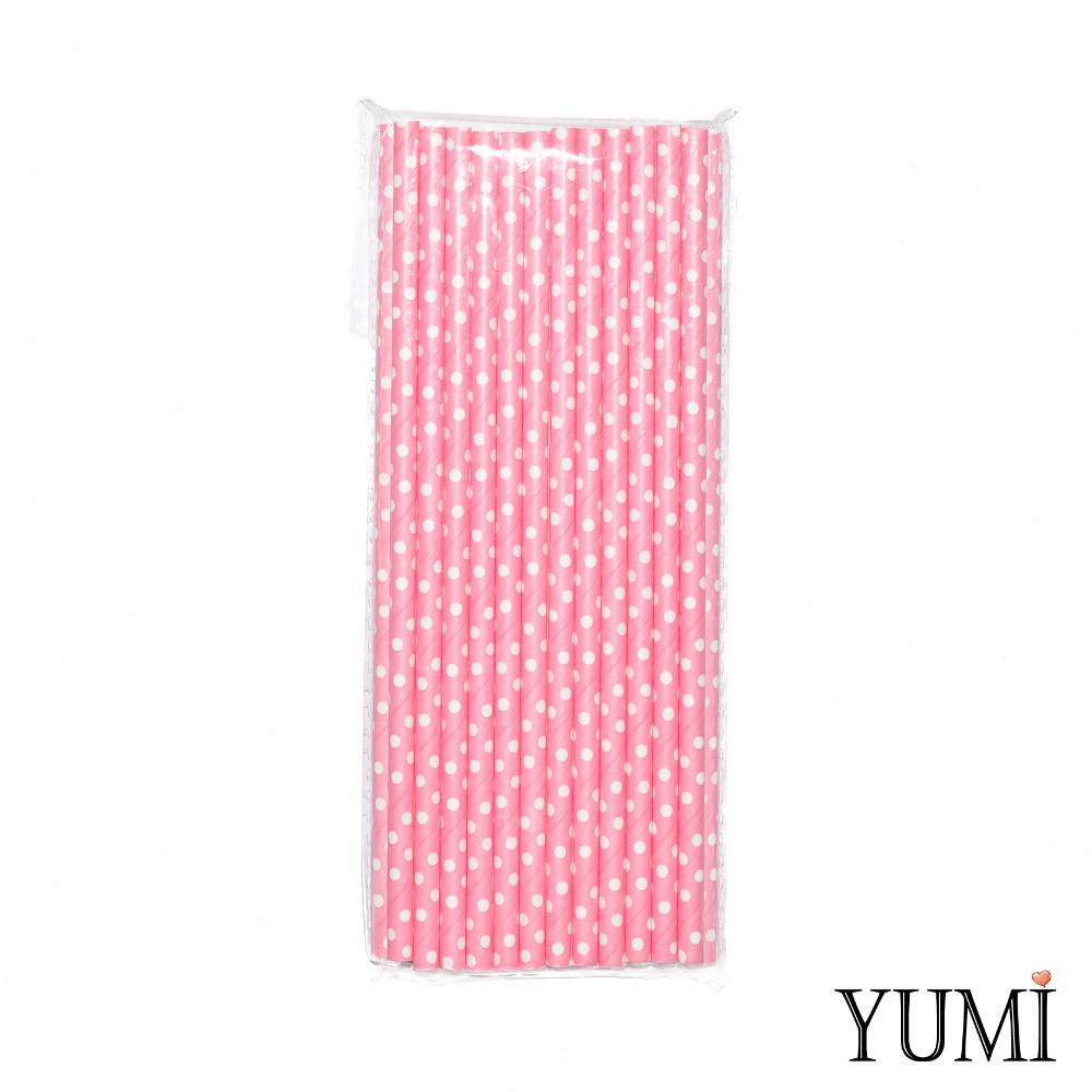 Трубочки бумажные розовые в белый горошек, 25 шт