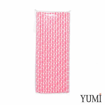 Трубочки бумажные розовые в белый горошек, 25 шт, фото 2