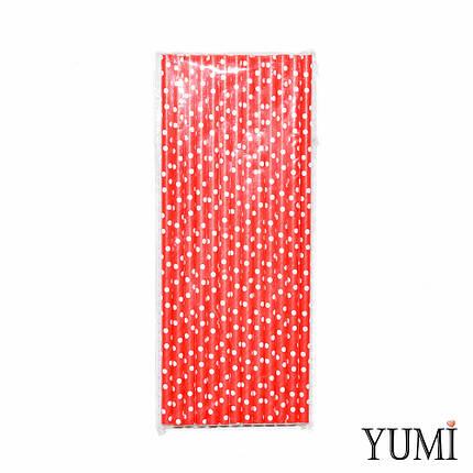 Трубочки бумажные красные в белый горошек, 25 шт, фото 2