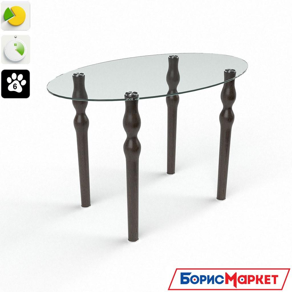 Обеденный стол стеклянный Овальный прозрачный от БЦ-Стол