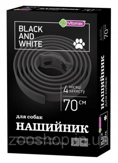 Vitomax Black & White (Black) 70 см - ошейник против блох и клещей для собак