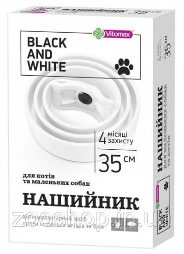 Vitomax Black & White (White) 35 см - ошейник против блох и клещей для котов