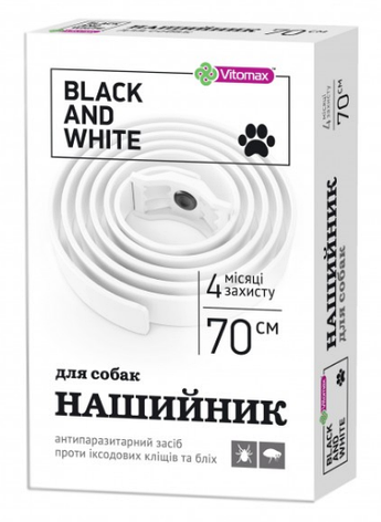 Vitomax Black & White (White) 70 см - ошейник против блох и клещей для собак, фото 2