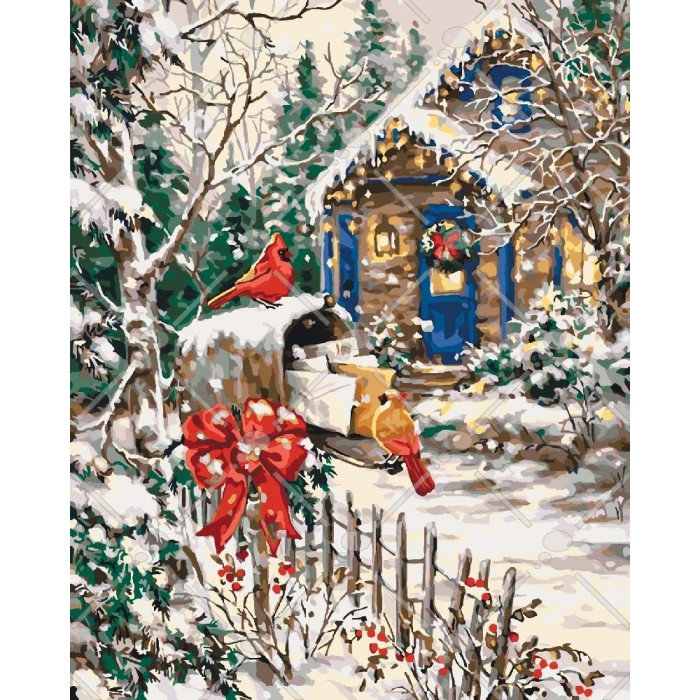 Картина по номерам Сільський пейзаж Зимова казка 40*50см, 40x50 см., Идейка