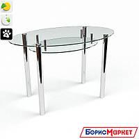 Обеденный стол стеклянный Овальный прозрачный с полкой от БЦ-Стол 1100х650 *Эко