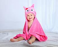Детское полотенце с капюшоном Dream Towels Сова 76х92 Розовый (dm-1017), фото 1