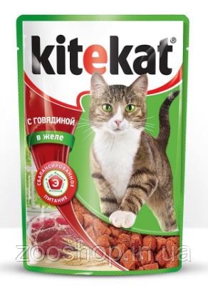 Влажный корм для котов Kitekat с говядиной в желе 100 г