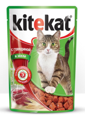 Влажный корм для котов Kitekat с говядиной в желе 100 г, фото 2