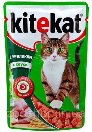 Влажный корм для котов Kitekat с кроликом в соусе 100 г, фото 2