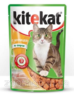 Влажный корм для котов Kitekat с курицей в соусе 100 г