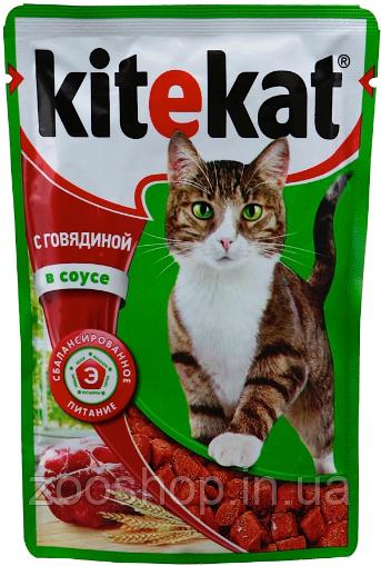 Влажный корм для котов Kitekat с телятиной в соусе 100 г