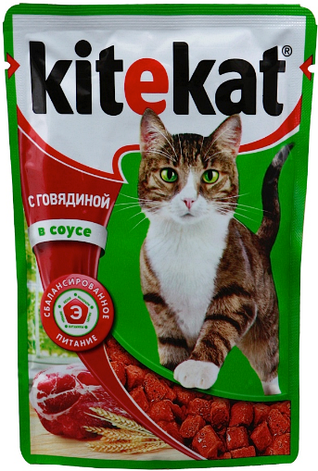 Влажный корм для котов Kitekat с телятиной в соусе 100 г, фото 2