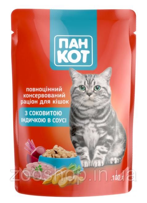 Паучи для кошек Пан Кот Индейка в соусе 100 г