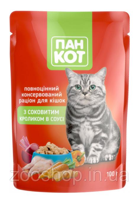 Паучи для кошек Пан Кот Кролик в соусе 100 г