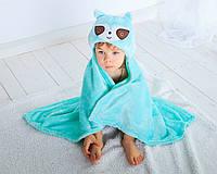 Детское полотенце с капюшоном Dream Towels Ленивец 76х92 Бирюзовый (dm-1016), фото 1