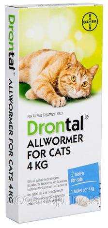 Добавка Bayer Дронтал для лечения и профилактики гельминтозов для кошек 24 таблетки, фото 2