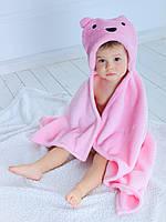 Детское полотенце с капюшоном Dream Towels Мишка 76х92 Розовый (dm-1001), фото 1