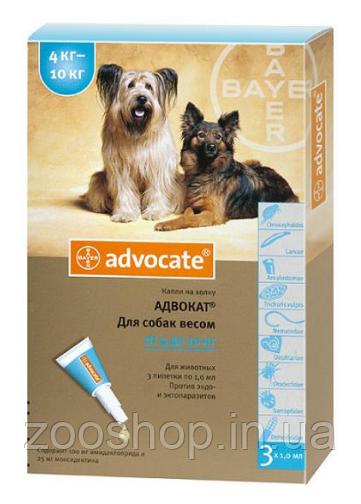 Капли Bayer Advocate от заражений эндо и экто паразитами для собак 4-10 кг 3 пипетки