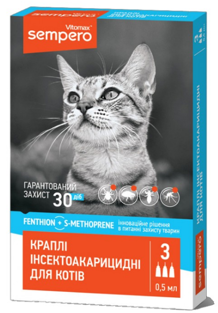 Капли Sempero от блох и клещей для котов