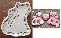 Набор - пластиковая вырубка + трафарет  Влюбленный Кот
