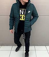 Мужская Зимняя Куртка Nike Темнозеленая Качественная Турецкая Куртки Мужские  Фирменные ce517160638b6