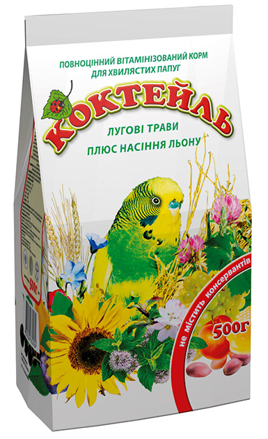 Корм Коктейль Луговые травы + семена льна 500 г