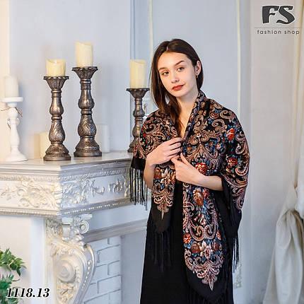 Чёрный павлопосадский платок Мгновение, фото 2