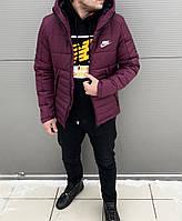 Мужская Зимняя Куртка Nike Бордовая Качественная Турецкая Куртки Мужские  Фирменные 80308c7d70077