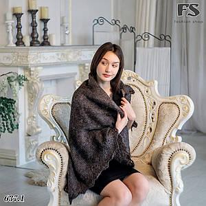 Тёмно-серый оренбургский пуховой платок Альбертина 110см