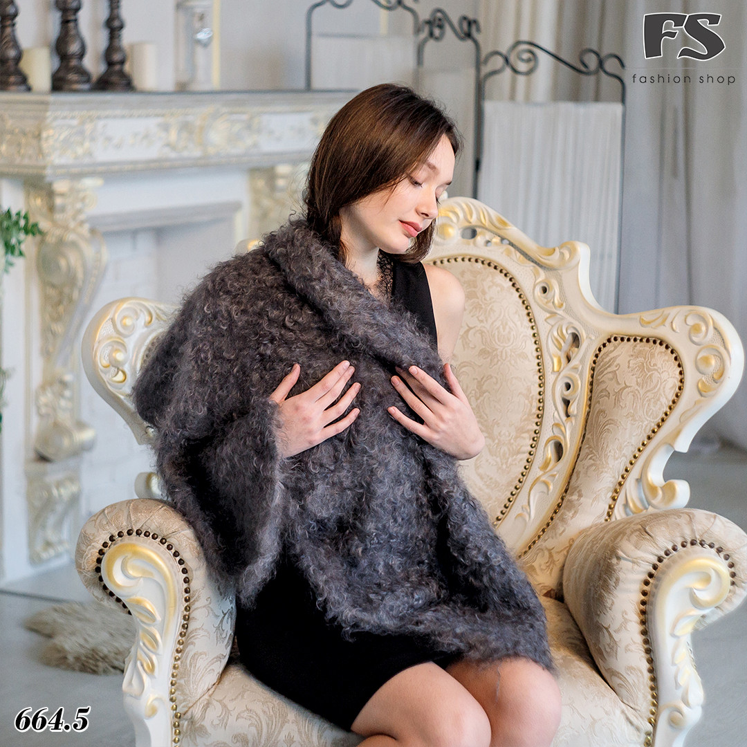 Кудрявый оренбургский серый пуховой платок Джамалия 95 см
