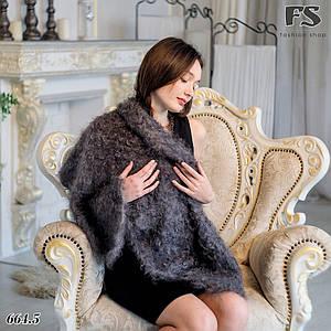 Кудрявый оренбургский серый пуховой платок Джамалия 115 см