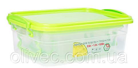Набор боксов для хранения пищевых продуктов 2,5+1,2+0,55 л.