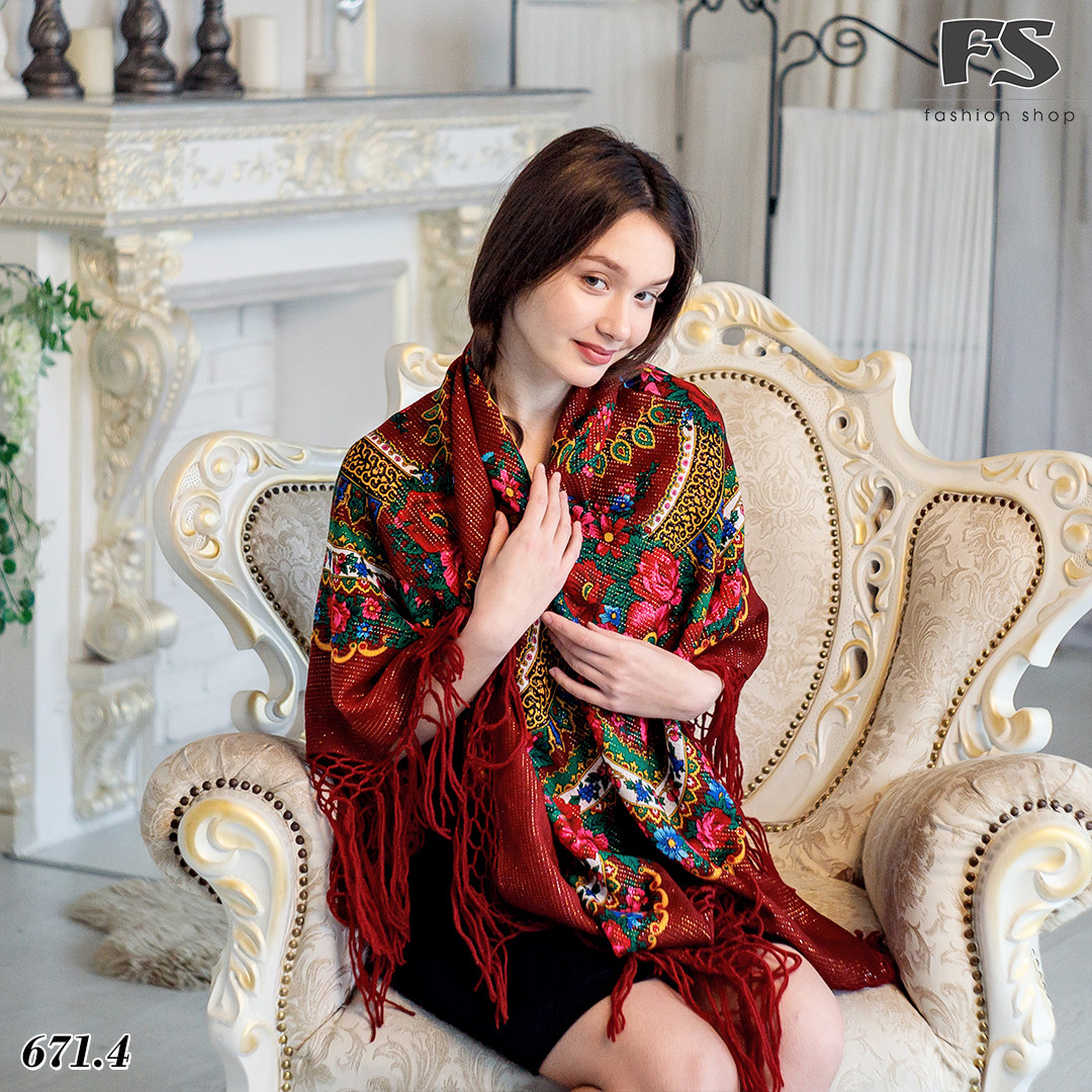 Справжня українська вовняна бордова хустка з люрексом  Чудові квіти